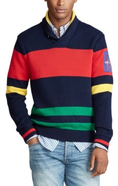 Polo Ralph Lauren Men's Striped Cotton Shawl Sweater