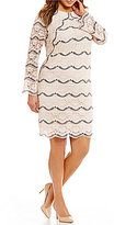 London Times Plus Round Neck Long Sleeve Scalloped Lace Shift Dress