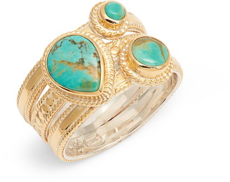 Anna Beck Turquoise Multi Stone Stack Ring