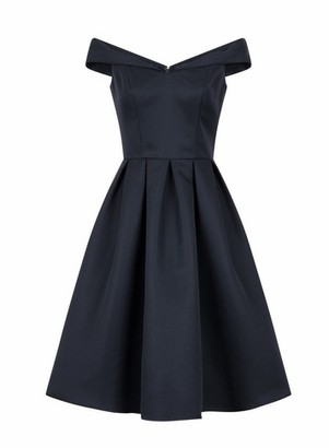 Dorothy Perkins Womens **Chi Chi London Navy Prom Bardot Dress