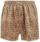 The Collection Gold Leopard Print Silk Boxers
