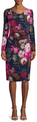 David Meister Floral-Print Long-Sleeve Dress