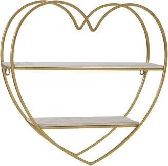 Sagebrook Home Metal Wood Tier Heart Wall Shelf