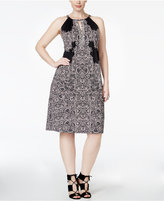 INC International Concepts Plus Size Lace-Print Fit & Flare Halter Dress, Only at Macy's