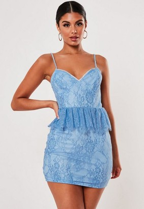 Missguided Lace Diamante Strap Peplum Mini Dress