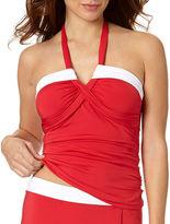 Liz Claiborne Colorblock Molded Bandeaukini Swim Top