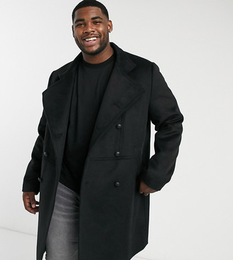 ASOS DESIGN Plus wool mix double breasted coat with military detail in black