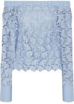 Robert Rodriguez Off-The-Shoulder Cotton Poplin-Paneled Guipure Lace Top