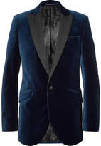 Favourbrook Blue Faille-Trimmed Cotton-Velvet Tuxedo Jacket