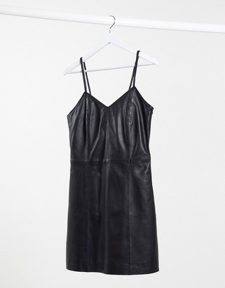 Muu Baa Muubaa leather cami dress in black