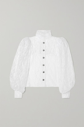 Christopher Kane Button-embellished Chantilly Lace Shirt - White