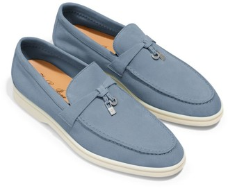 Loro Piana Suede Charm-Detail Summer Walk Loafers