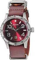 Nixon A269-2073 Diplomat Men Brown Leather Bracelet With Red Analog Dial Watch