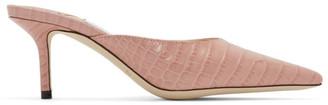 Jimmy Choo Pink Croc Rav 65 Mules