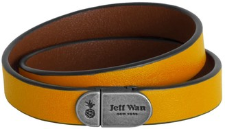 Jeff Wan Leather Bracelet With Magnetic Closure Yellow Manhattan