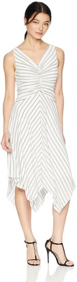 Maggy London Women's Petite Rope Stripe Novelty Fit and Flare