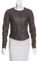Theory Collarless Leather Jacket