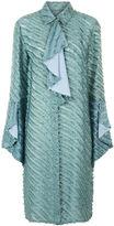 Marco De Vincenzo Mint Silk Ruffle Front Pleat Dress