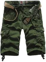 LingLuoFang LLF Men's Casual Slim Fit Cotton Solid Multi-Pocket Cargo Shorts Army Green US30
