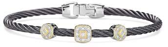 Alor Gray Cable Bangle Bracelet With Diamonds