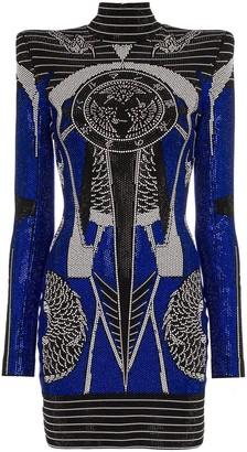 Balmain crystal-embellished square-shoulder mini dress