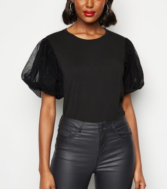 New Look Mesh Puff Sleeve Top