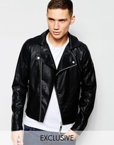 G Star G-Star BeRAW Faux Leather Biker Jacket Camcord-A in Black