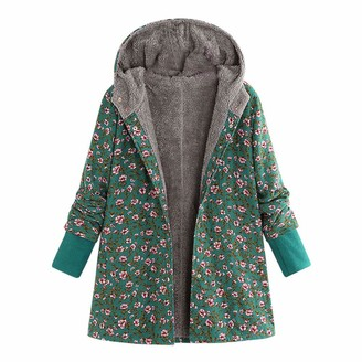 Homebaby Women Coat HOMEBABY Plus Size Womens Winter Warm Parka Classic Cotton Vintage Jacket Pocket Hooded Casual Ladies Thick Coat Long Sleeve Faux Fur Fluffy Fleece Warm-up Cardigan Outwear Green