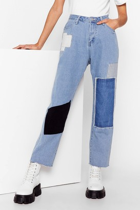 Nasty Gal Womens Not Got a Patch on You High-Waisted Jeans - Blue - 6