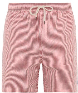 Polo Ralph Lauren Logo-embroidered Striped Cotton-blend Swim Shorts - Mens - Red Multi
