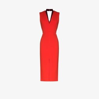 Victoria Beckham V-neck fitted midi dress