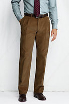 Lands' End Men's Pleat Front Traditional Fit 18-wale Corduroy Dress Pants-Dark Rinse