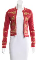 Blumarine Wool & Cashmere-Blend Embroidered Cardigan
