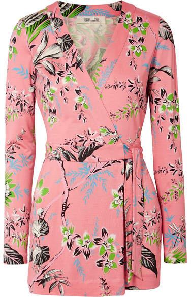 Diane von Furstenberg Celeste Floral-print Silk-jersey Wrap Playsuit - Baby pink