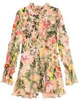 Nicholas Ruffled Floral-Print Silk Crepe De Chine Playsuit