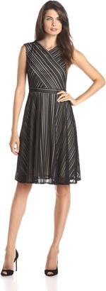 Gabby Skye Women's Sleeveless V Neck Lace Fit & Flare Dress