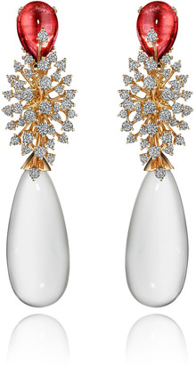 Hueb Luminus 18k Pink Gold Rose Quartz and Diamond Earrings