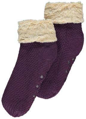 George Plum Knitted Fleece Lined Slipper Socks