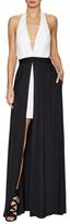ABS by Allen Schwartz Deep V Overlay Skirt Ball Gown