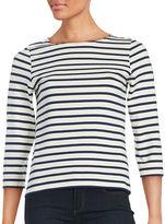 Saint James Three-Quarter Sleeve Striped Boatneck Top