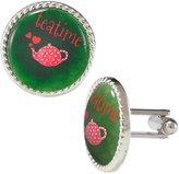 Arthwick Store Teatime Red Kettle on Green Background Cufflinks