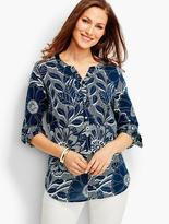 Talbots The Jewel-Neck Casual Shirt-Dotted Floral