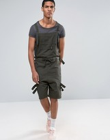 Asos Drop Crotch Short Overalls With Taping In Dark Khaki