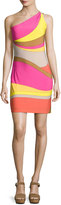 Trina Turk Faraway One-Shoulder Abstract Jersey Dress, Multicolor