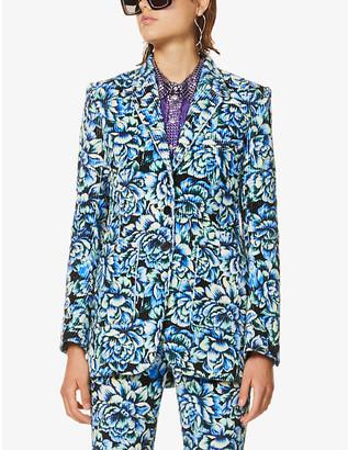 Paco Rabanne Flower-print single-breasted woven blazer