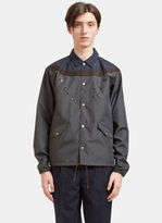 Kolor Men's Embroidered Contrast Panelled Coach Jacket In Grey