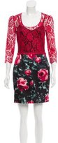 Dolce & Gabbana Guipure Lace-Paneled Rose Printed Dress w/ Tags