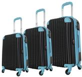 Brio Luggage #808 Black 2-Tone 3-piece Hardside Spinner Luggage Set