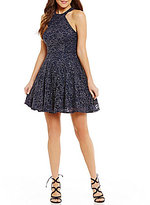 B. Darlin High Neck Glitter Lace Skater Dress