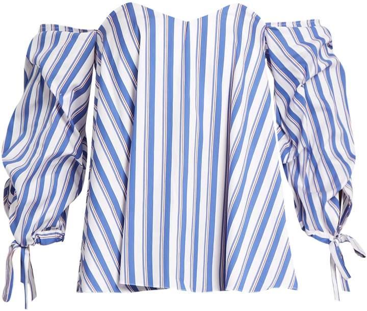 Caroline Constas Gabriella off-the-shoulder striped top